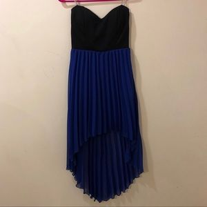 Black & Royal blue high-low strapless dress.
